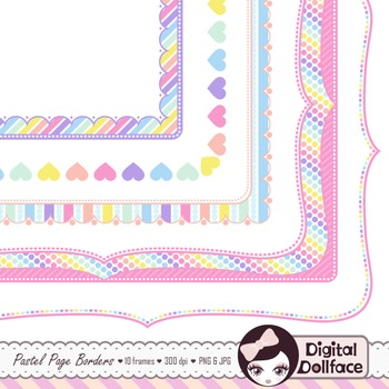Pastel Page Frames / Rainbow Border Clipart by Digital Dollface TpT - rainbow page border