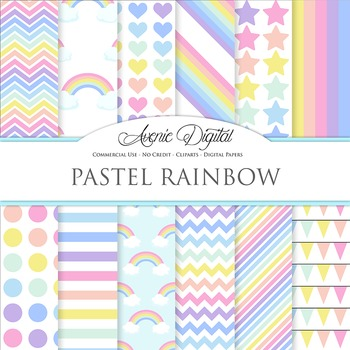 Pastel Rainbow Digital Paper Pattern Background Sky multicolor
