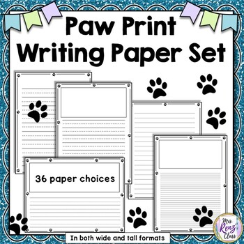 Paw Print Writing Paper with 36 Paper and Line Spacing Choices TpT