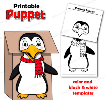 Penguin Craft Activity Printable Paper Bag Puppet Template TpT