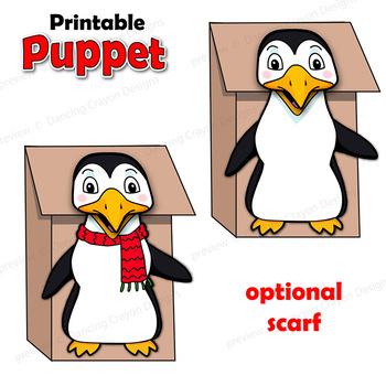 Penguin Craft Activity Printable Paper Bag Puppet Template TpT - penguin template