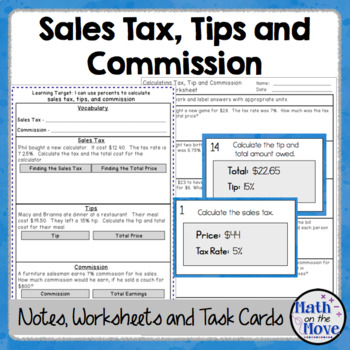 Percents - Sales Tax, Tips, and Commission - Notes, Task Cards, and