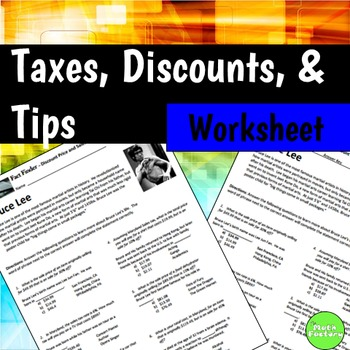 Sale Price Sales Tax Percent Off Fact Finder Worksheet by The Math