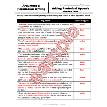 Persuasive  Argument Writing Adding Ethos Pathos Logos Rhetorical