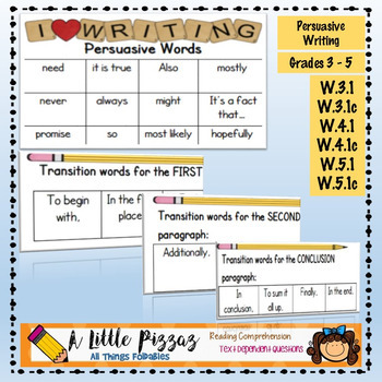 Persuasive Writing Linking Words  Transitions List by A Little Pizzaz
