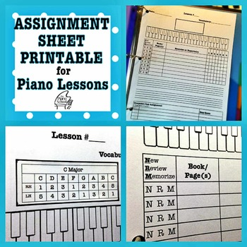 Piano Assignment Sheet Teaching Resources Teachers Pay Teachers - printable assignment sheet