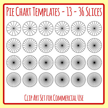 Pie Chart or Fraction Templates for 13-36 Slices Clip Art Set - pie chart templates