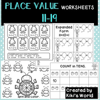 Place Value worksheets 11-19 (tens and ones) by Kiki\u0027s World TpT - place value worksheet