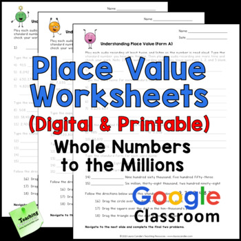Place Value Worksheets - Whole Numbers Up to 1 Million by Laura Candler