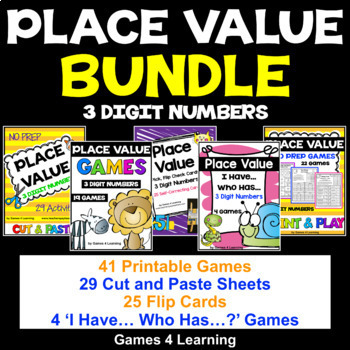 3 Digit Number Cards Worksheets  Teaching Resources TpT