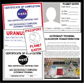 Planet Passport and Astronaut Training Certificate by I Can in Fourth