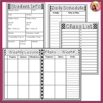 Editable Teacher Planner 2018-2019 (black and white) binder