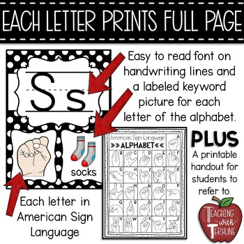 Editable Alphabet Posters with American Sign Language {Polka Dot}