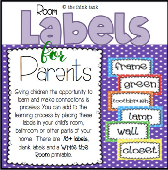 Polka Dot Room Labels for Parents by the think tank TpT
