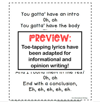 Pop Song Lyrics Mastering Informational  Opinion Essay Structure