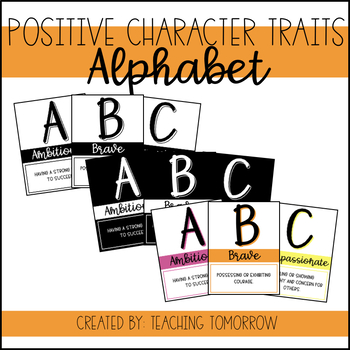 Positive Character Traits Alphabet Posters by Teaching Tomorrow Store