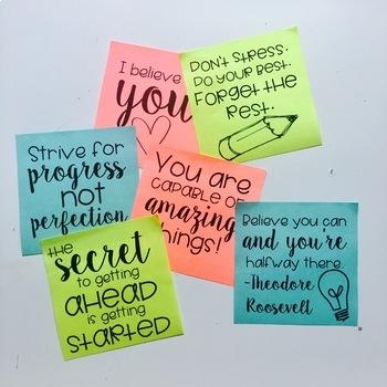 Positive Sticky Notes by TeacherBug Creations Teachers Pay Teachers