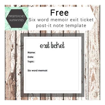 Post-it note printables - six word memoir exit ticket template TpT