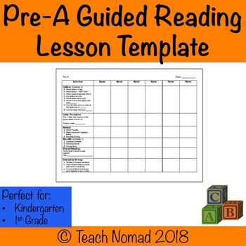 Guided Reading Lesson Template Teaching Resources Teachers Pay