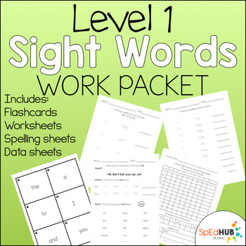 Level 1 Sight Word Work Packet by SpEd HUB Studios TpT