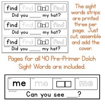 Sight Words Strips - Pre-Primer Words Make A Sight Word Practice Book