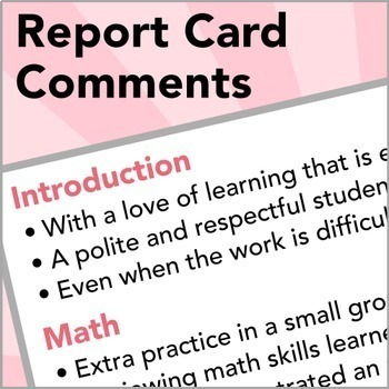 Sentences for Report Card Comments by JennySweet TpT