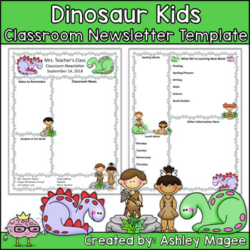 Prehistoric Dinosaur Kids Editable Classroom Newsletter Template by - editable classroom newsletter