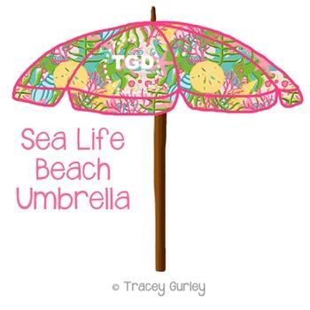 Preppy Sea Life Beach Umbrella Printable Tracey Gurley Designs TpT