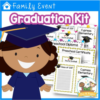 Preschool Graduation Kit - Diplomas Certificates Invitations Program