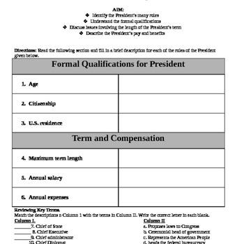 President\u0027s Job Description Graphic Organizer TpT - president job description