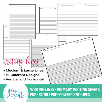 Primary Writing Lined Digital Paper Horizontal \u2022 Vertical - horizontal writing paper