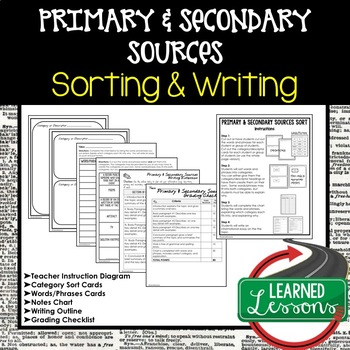 Primary and Secondary Sources Sorting and Writing Activity TpT