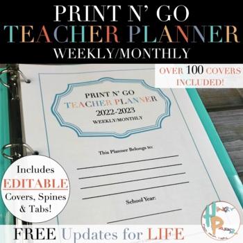 Print N\u0027 Go Weekly/Monthly Teacher Planner {FREE Updates for LIFE}
