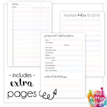 Printable 2018 Teacher Diary Planner - Northern Territory School