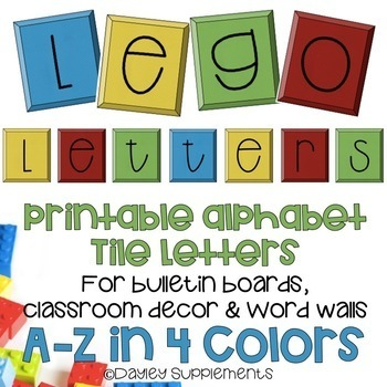 Printable Alphabet Letters - Lego Tiles - A-Z four colors by Dayley