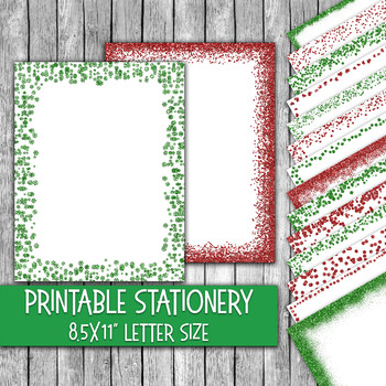 Printable Christmas Stationery - Christmas Letter Paper - 16 Papers