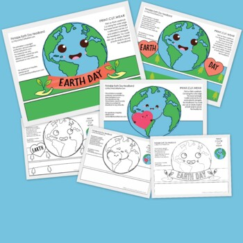 Earth Day Printable Paper Crowns - Color + Black  white version