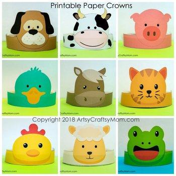 Farm Animals Printable Paper Crowns - Color + by ArtsyCraftsyMom