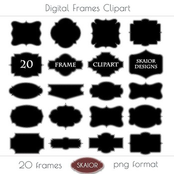 Printable Frames Clipart Borders Clip Art Labels Tags Dotted Stitched