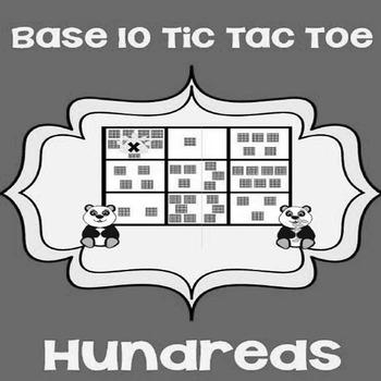 Printable Math Center Tic Tac Toe Base 10 Blocks -Hundreds File