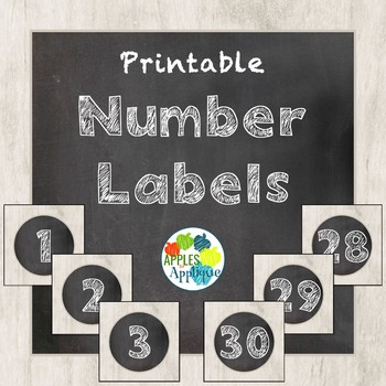 Printable Number Labels in Chalkboard Theme by Apples to Applique