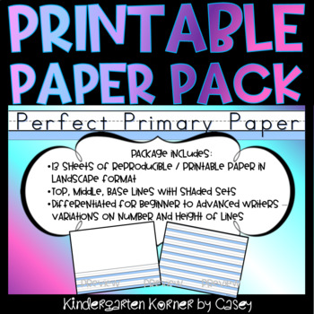 Printable Primary Lined Journal Writing Paper 13 differentiated blank