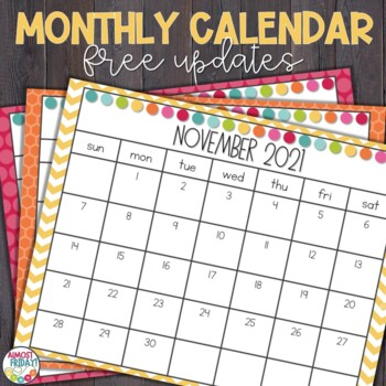 Printable School Year Calendar 2018-2019 by Almost Friday TpT