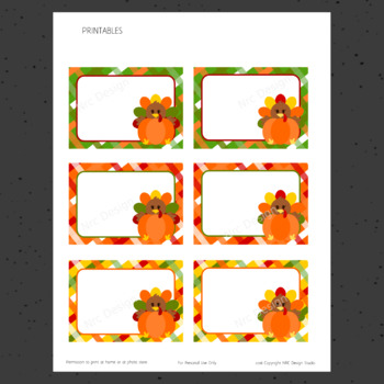 Printable Tags, Thanksgiving Turkey, Labels, Name Tags - Classroom