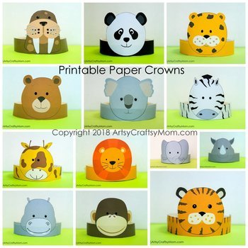 Zoo Animals Printable Paper Crowns - Color + Black  white version