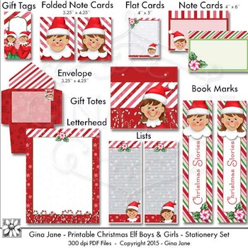 Printables - Christmas Elf Theme Paper Crafts by Gina Jane TpT