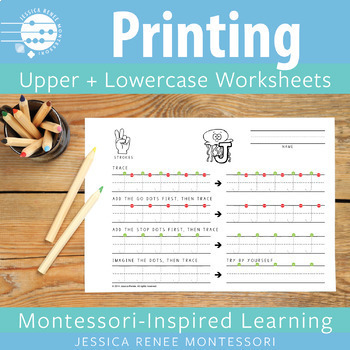 Capital and Lowercase Printing Practice Sheets by Jessica Renee