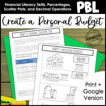 Project Based Learning Create a Personal Budget 6th Grade Math TpT