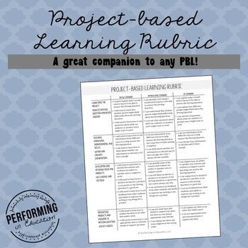Project Based Learning Rubric by Performing in Education TpT