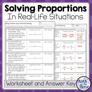 Proportions Word Problem Worksheet - FREEBIE by Math on the Move